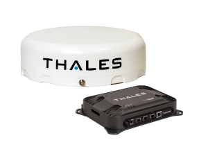 Antenna and terminal box of Thales MissionLINK product.