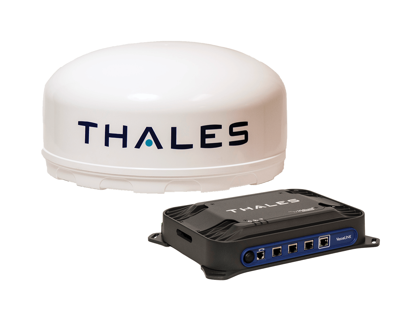 Antenna and terminal box of Thales VesseLINK product.