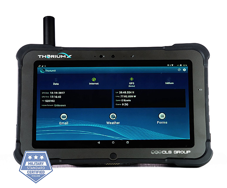 Thorium X by CLS, a ruggedized tablet with a short antenna protruding vertically from the top left of the case.