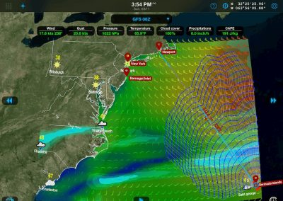 Screenshot of weather and sea condition tracking functionality of Weather4D.