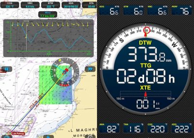 Screenshot of live data dashboard of Weather 4D app, showing heading, speed, wave and wind speeds and much more.