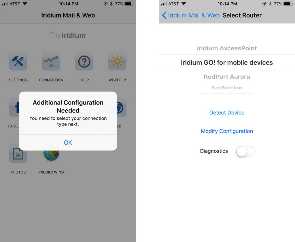 Screenshot showing configuring router settings on iOS.