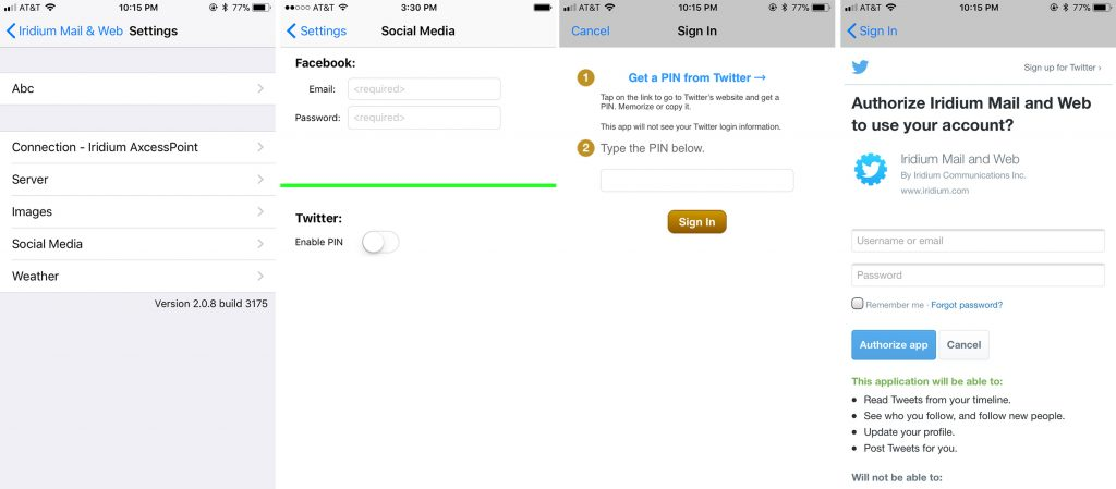 Screenshot showing process of linking a Twitter account to the Mail & Web App on iOS.