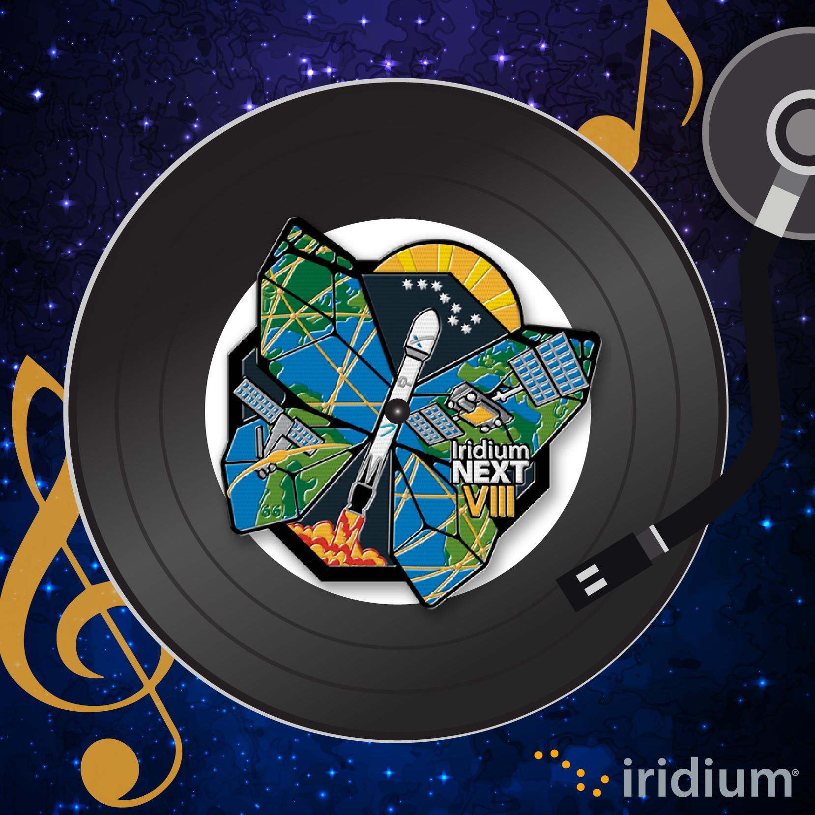 Graphic for Iridium NEXT Launch 8 Spotify playlist, showing the launch patch imprinted on a vinyl record in a player.