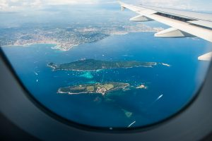 Aviation Window View of Islands