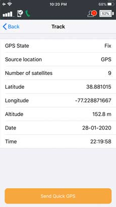 Iridium GO! App Track Screen