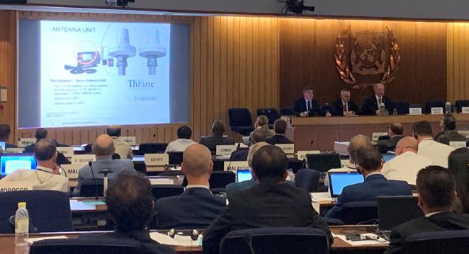 Iridium presents its GMDSS service at an International Maritime Organization hearing.