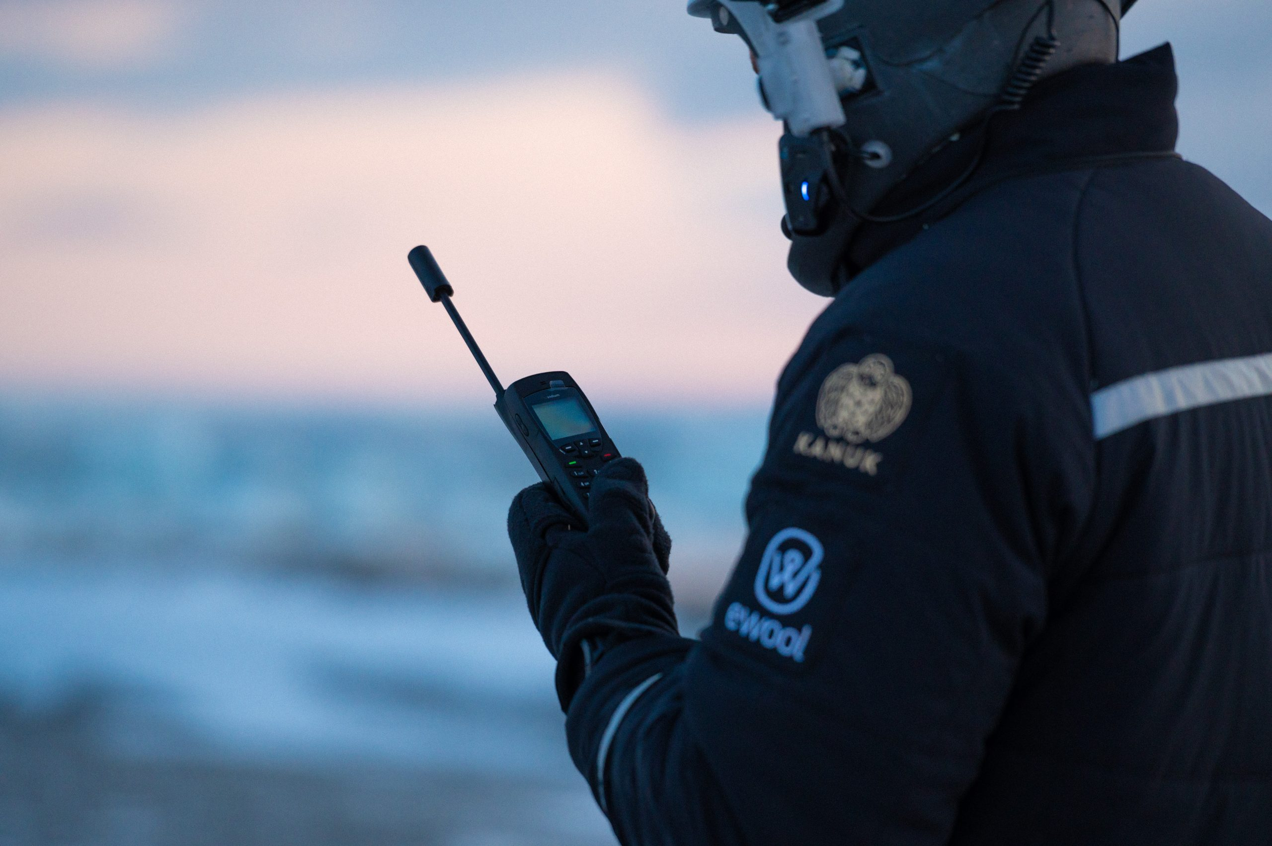 Iridium 9555 satellite phone in use