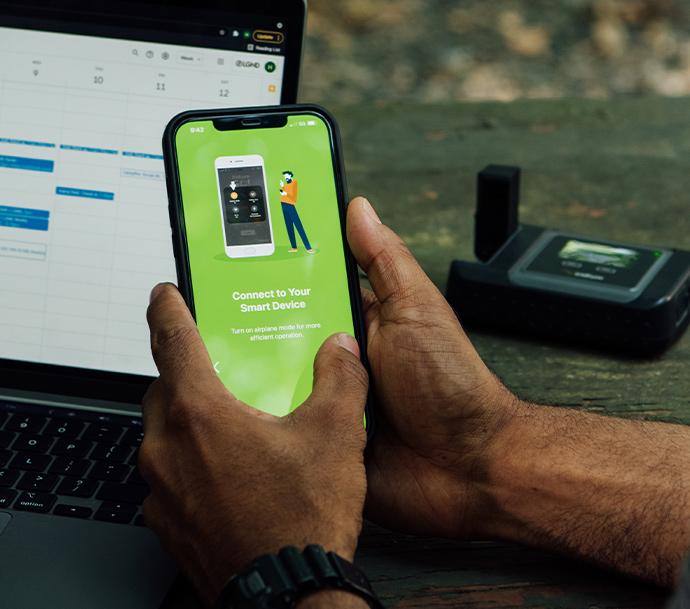 Iridium GO App on an iphone