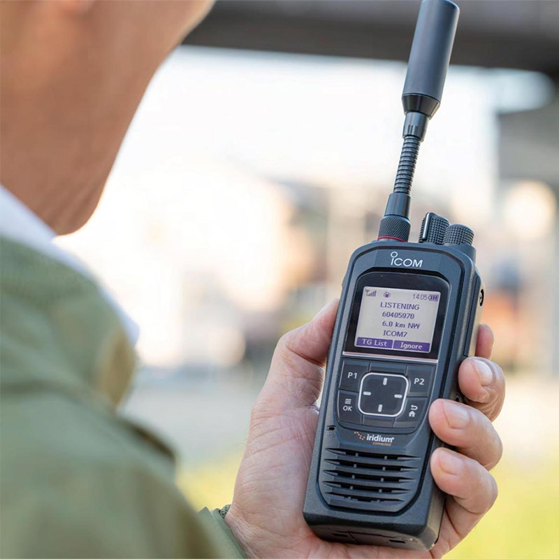 Icom IC-SAT100 PTT device in use
