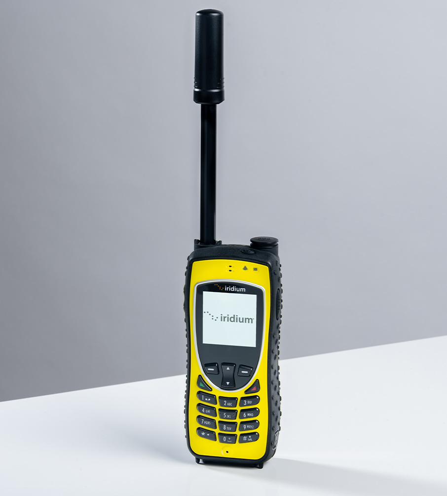 Iridium Extreme in Safety Yellow with extended antenna