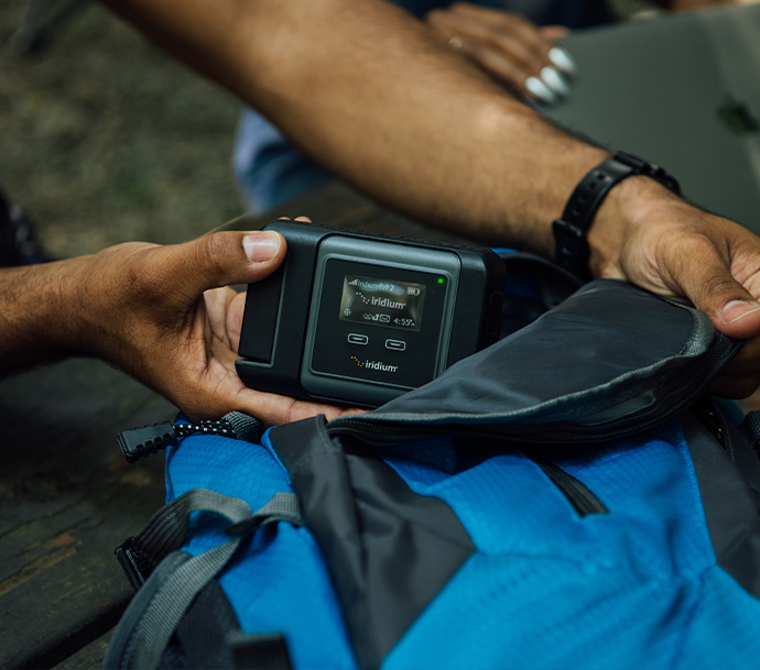 Iridium GO! in backpack for camping trip