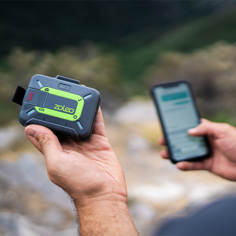 Iridium Connected Zoleo Satellite Communicator paired with smartphone