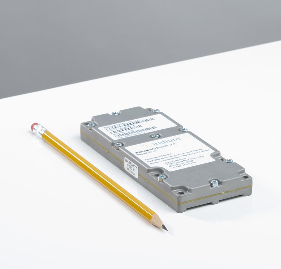 Iridium Certus 9770 module to scale same height as a pencil