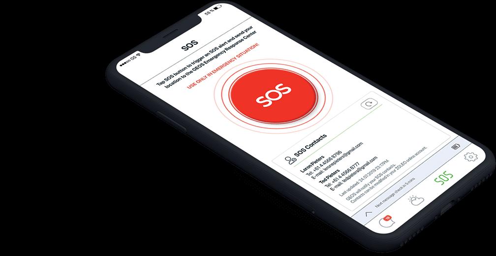 Zoleo Mobile App SOS screen