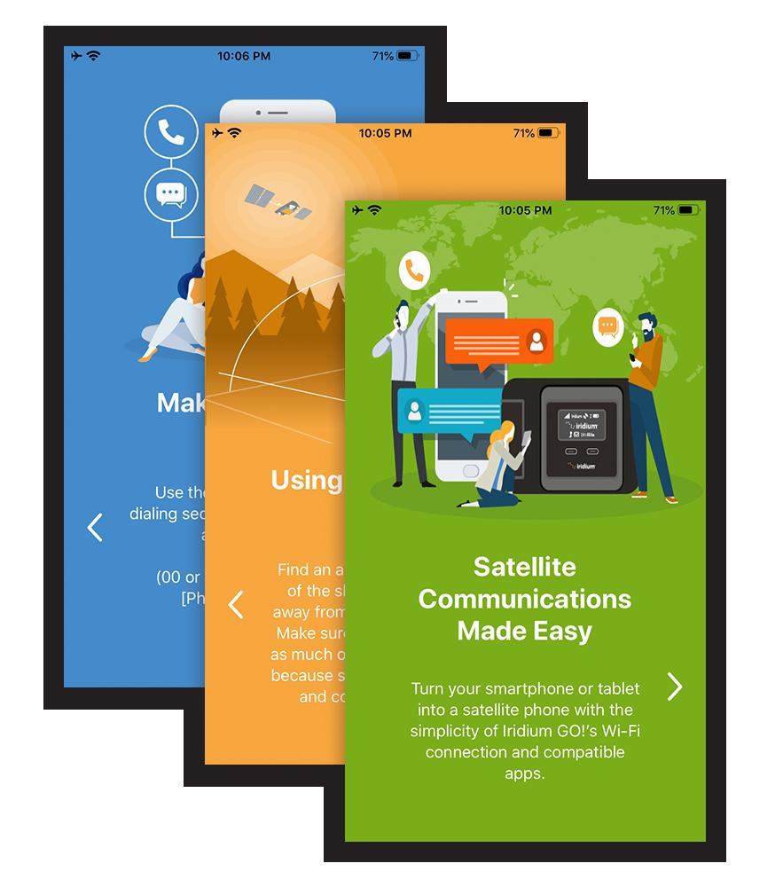 Iridium GO! app welcome screens